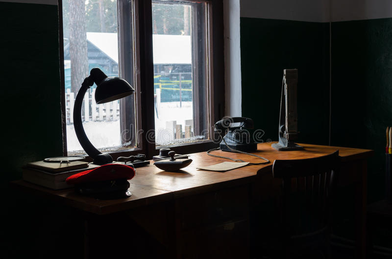 Old working place of stationmaster in Russian railway museum. Window light stock images