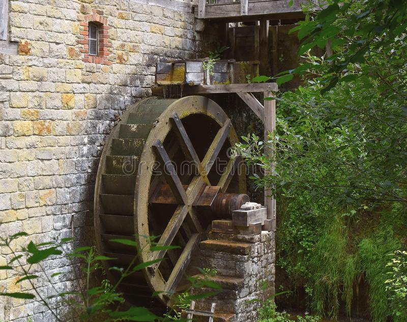 Old working watermill mill wheel. Detmold. Germany. royalty free stock image