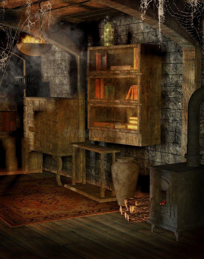 Old workshop. Fantasy workshop with old furniture royalty free illustration