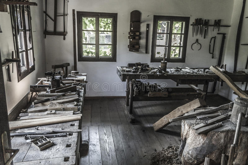 Old workshop interior. In kumrovec ettno wilage royalty free stock photos