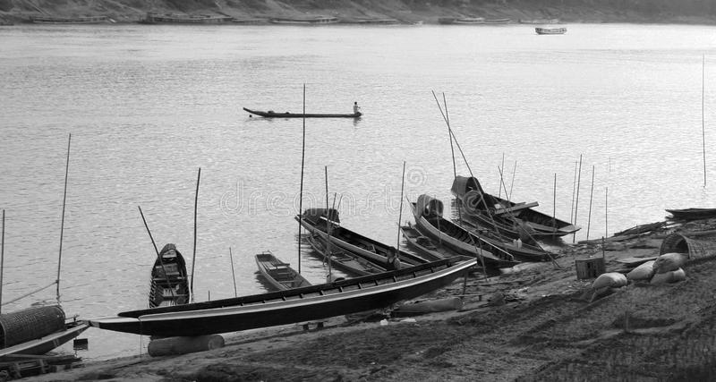 Old world charm of Mekong River, Laos royalty free stock photo