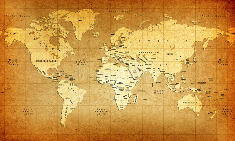 Old World Map. An Old Detailed World Map