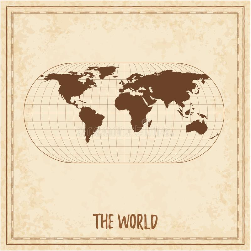 Old world map. Eckert III projection. Medieval style treasure map. Ancient land navigation atlas. Vector illustration vector illustration