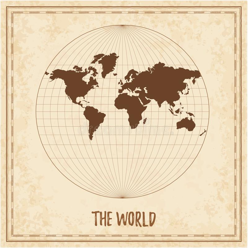 Old world map. Van der Grinten III projection. Medieval style treasure map. Ancient land navigation atlas. Vector illustration royalty free illustration
