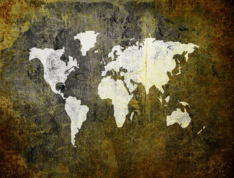 Download Old World Map On Retro Paper Stock Illustration - Image: 11687778