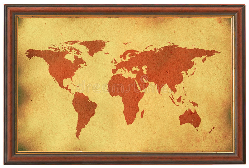Old World Map In Wooden Frame Stock Photo - Image of cosmos ...