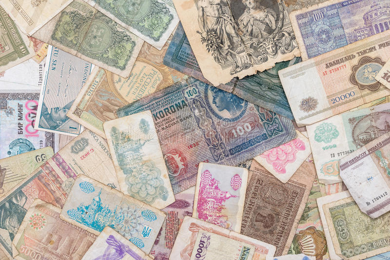 Old world paper money of different countries. As background stock photos