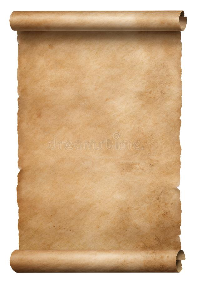 Old brown parchment scroll isolated on white stock photo