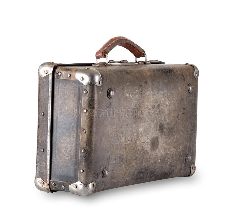 Old worn brown suitcase stock photo