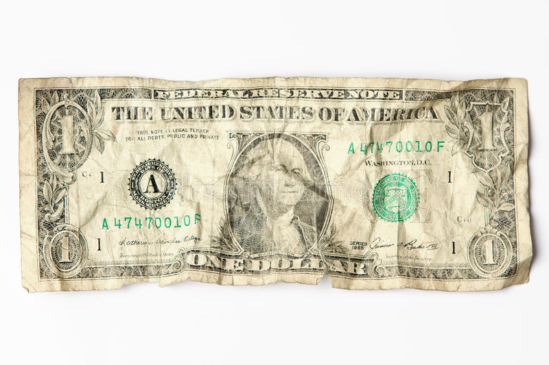 Download Old worn one dollar bill stock photo. Image of currency - 19829276