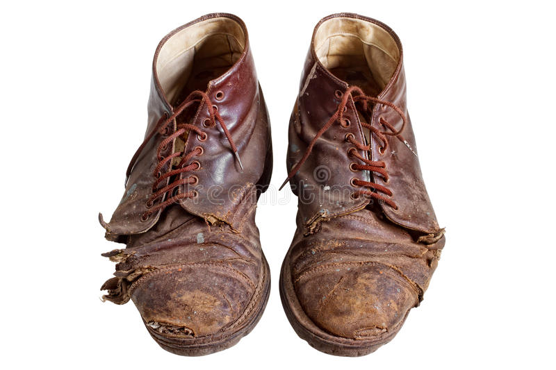 Well known Old Worn Out Boots, Isolated Stock Photo - Image of mens, obsolete  CC42