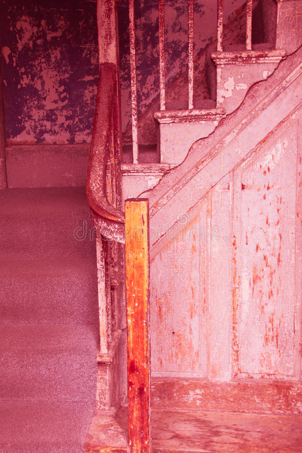 Old worn out stairs in a house royalty free stock photo