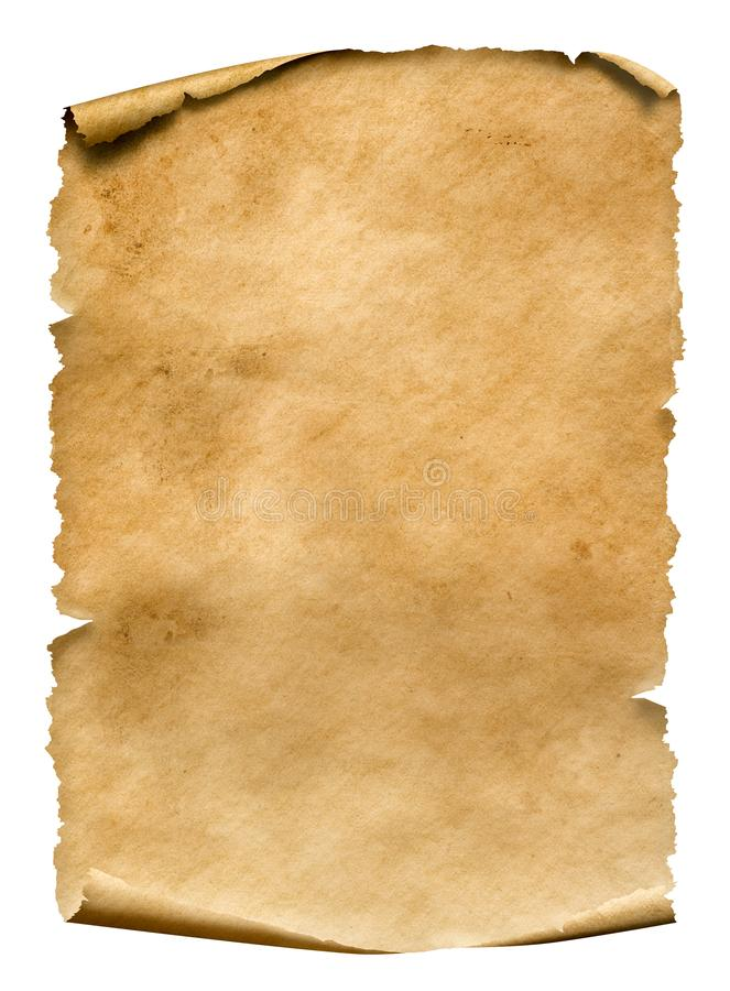 Old worn paper sheet isolated on white. Old worn paper sheet with dirty spots isolated on white stock photos