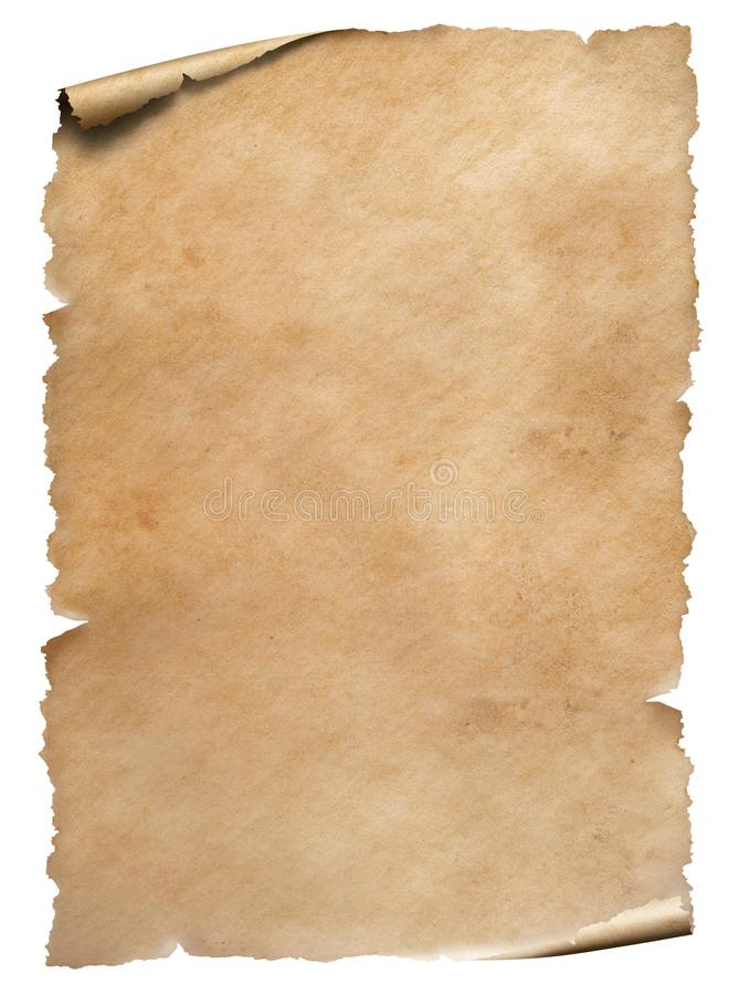 Old worn paper sheet isolated on white. Old worn paper textured sheet isolated on white royalty free stock images
