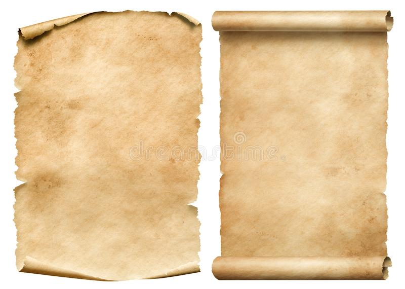 Old worn paper sheet and scroll isolated on white stock photos
