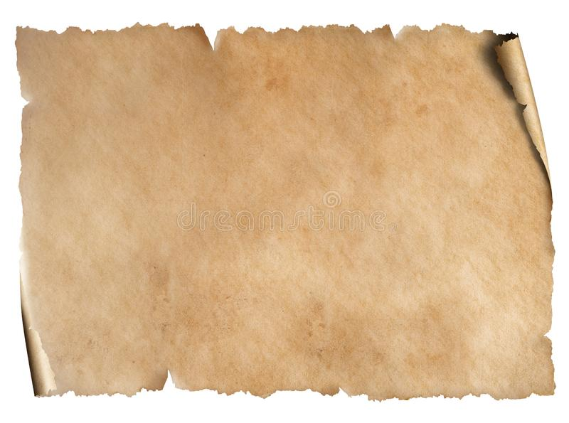 Old worn paper sheet isolated on white. Old worn paper textured sheet isolated on white royalty free stock photos