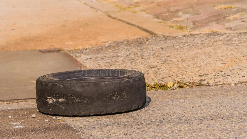 Old worn tire without treads royalty free stock photo