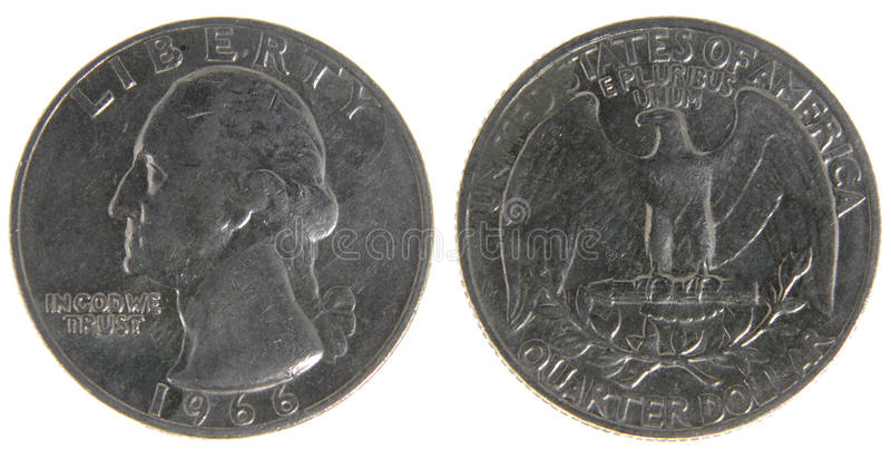 Old Worn US Quarter. Both sides of an old (1966) US quarter, isolated on a white background royalty free stock photos