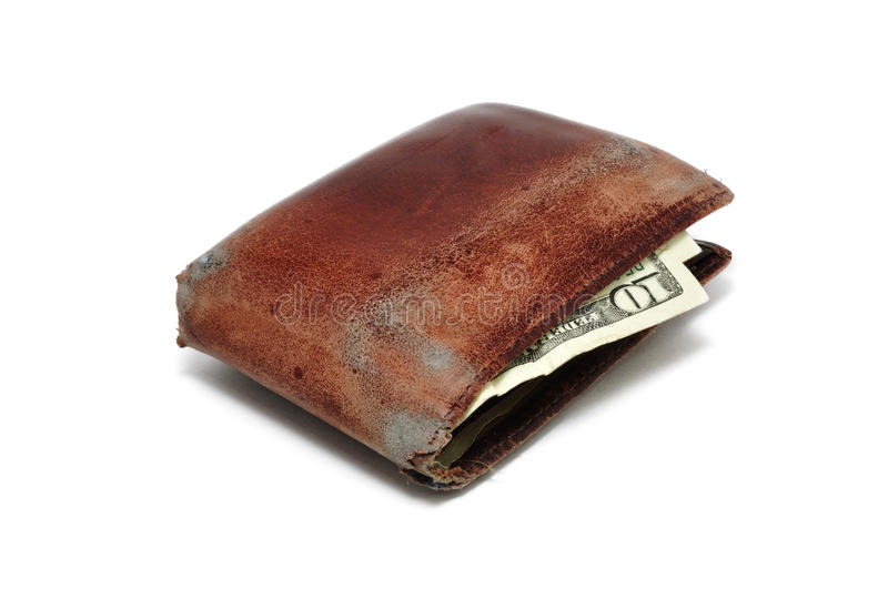 Old Worn Wallet. With 10 Dollar Bill Isolated on White stock image