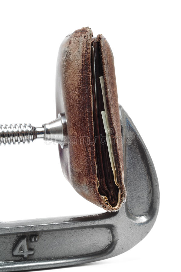 Download Old Worn Wallet Being Squeezed In A C Clamp Stock Photo - Image: 12527772