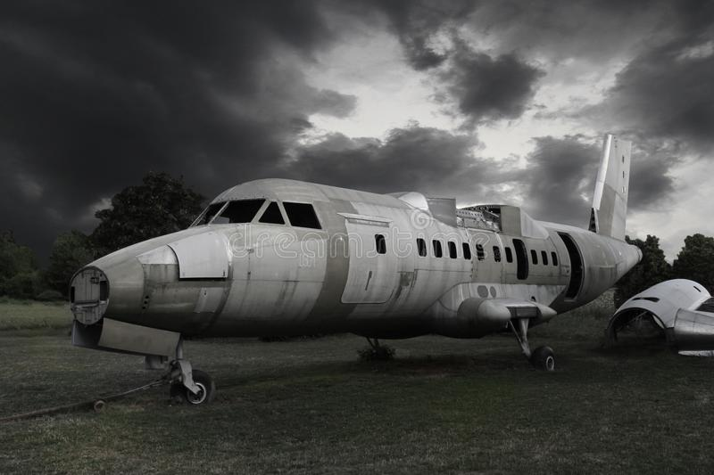 Old wreck airplane stock image