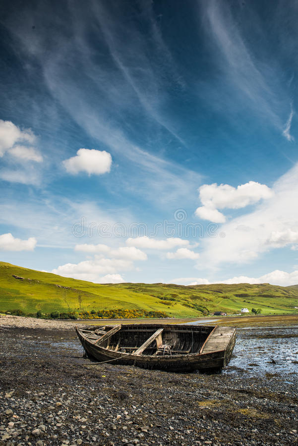 Old wreck boat royalty free stock image