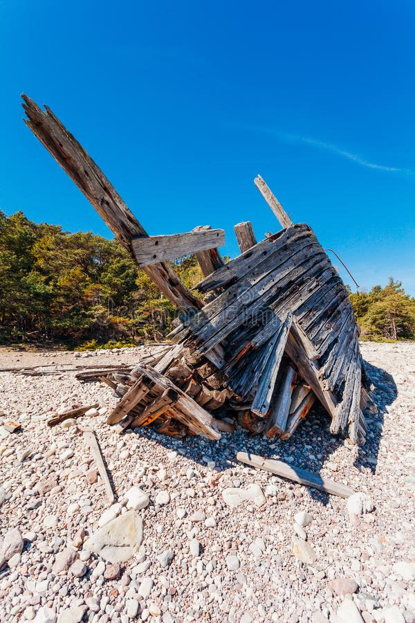 Swiks at the seashore of Öland in Sweden. Old wreck ship Swiks att the beach in Öland Sweden stock photography