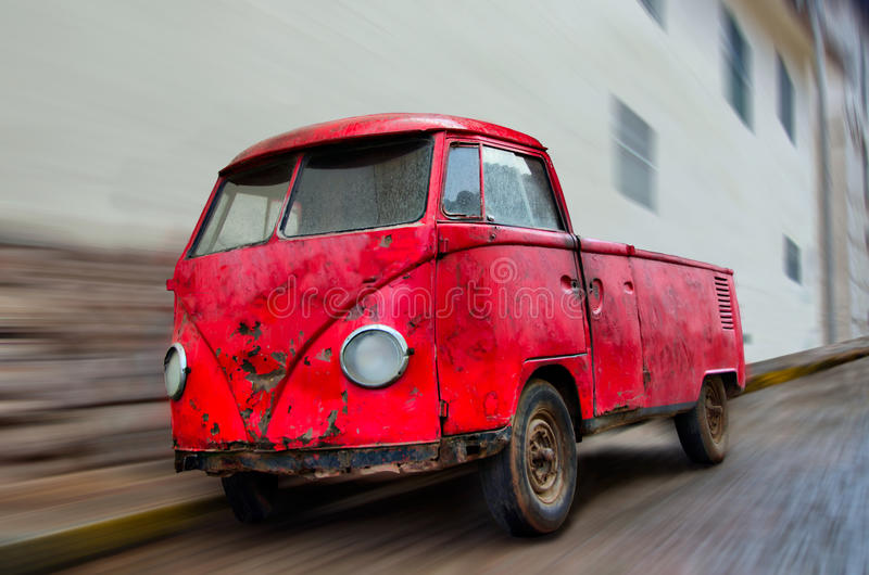 Download Old Wrecked Red Van Parked On Street With Blur Stock Photo - Image: 22706850