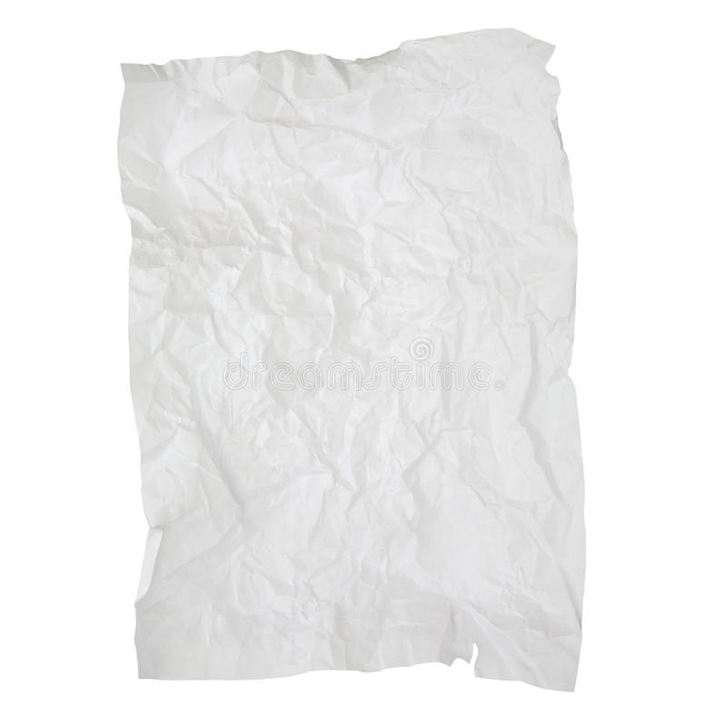 Old wrinkled paper texture isolated on white background royalty free stock photo