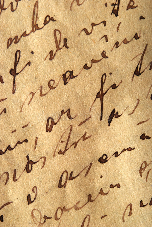 Old writing. Close-up shot of an old writing royalty free stock photo