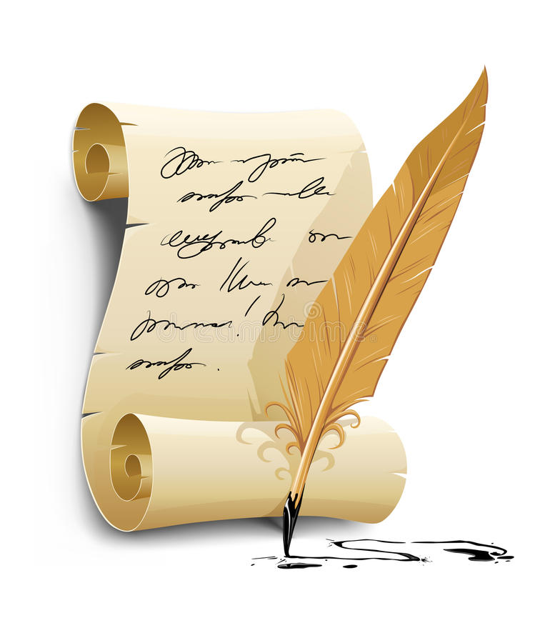 Old writing script with ink feather tool royalty free illustration