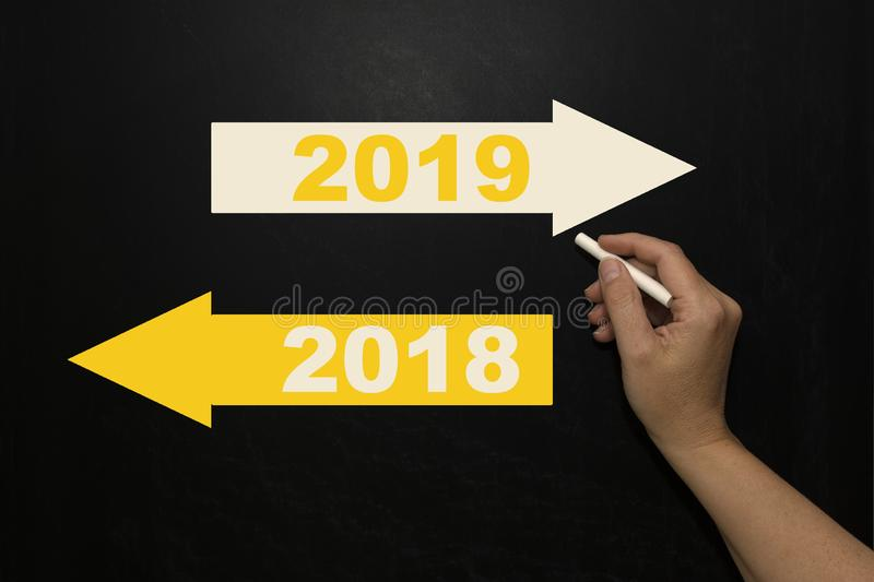 New year 2019 on the blackboard royalty free stock photo