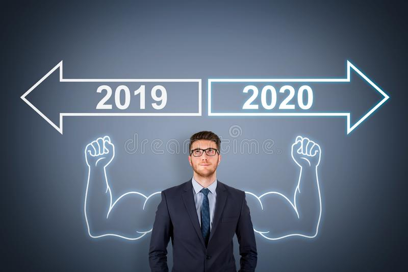 Old Year New Year 2020 over Human Head on Touch Screen stock photos