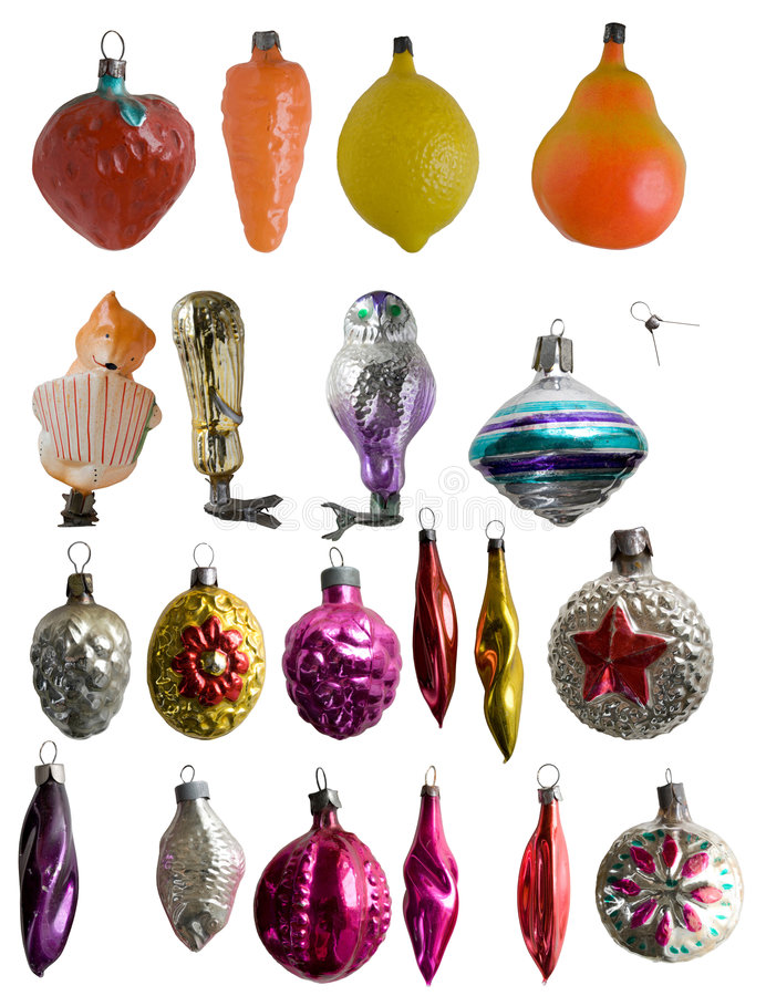 Old Year's tree ornaments stock images