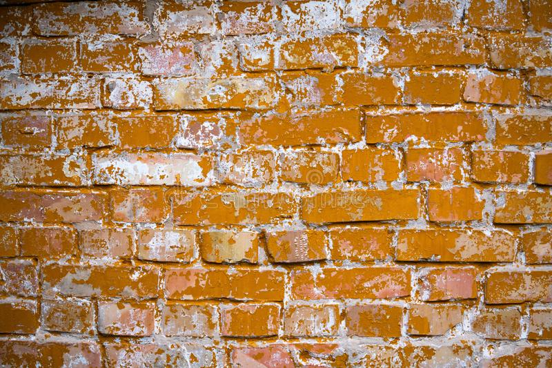 Old yellow brick wall background texture abstract. Old yellow orange brick wall background texture abstract royalty free stock photography