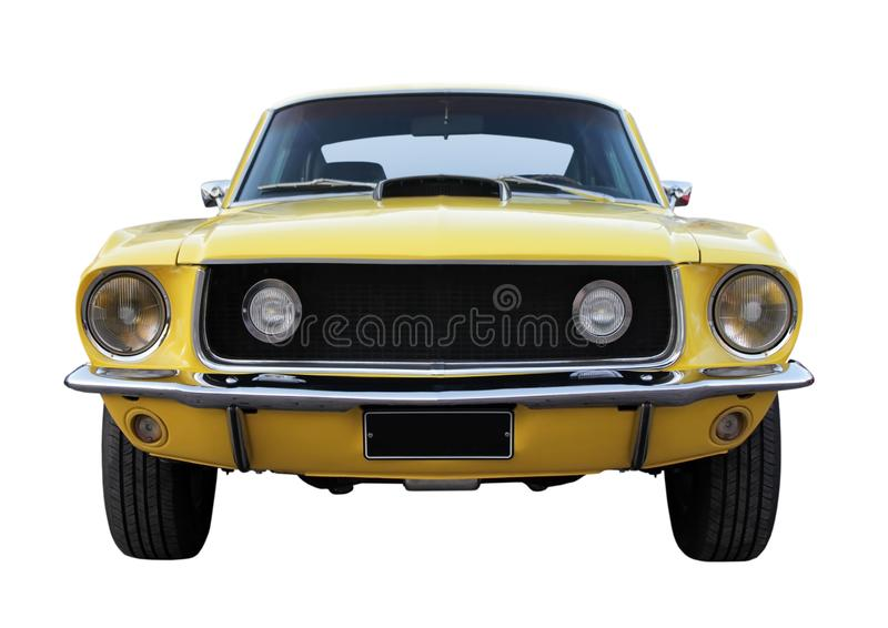 Old yellow car. Old yellow retro car front view against white background stock images