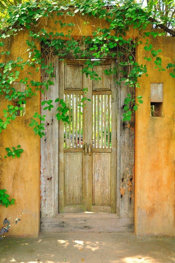 Old yellow door royalty free stock photo