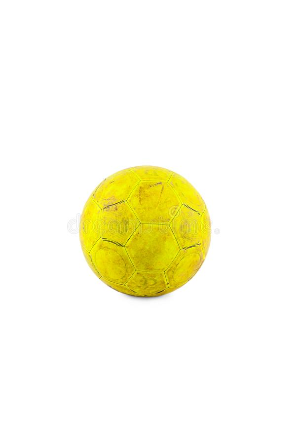 Old yellow futsal ball created your health and relationship on white background football object isolated stock images