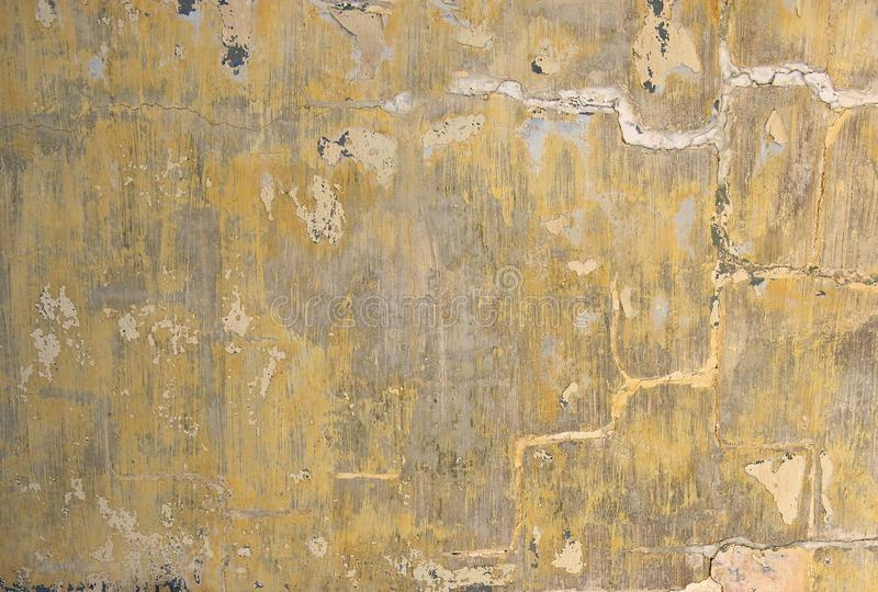 Old Yellow Painted Cracked Wall. Old Abandoned Wall Background ...