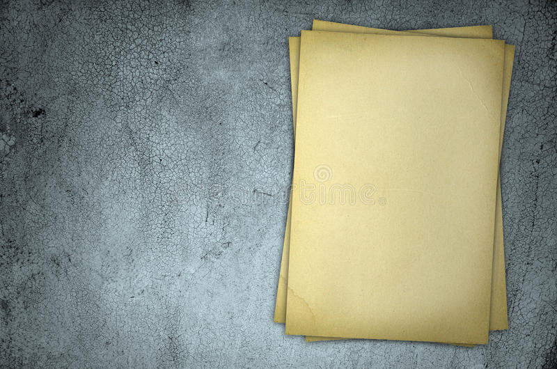 Download Old Yellow Paper On Grey Dirty Wall Stock Image - Image: 20917655