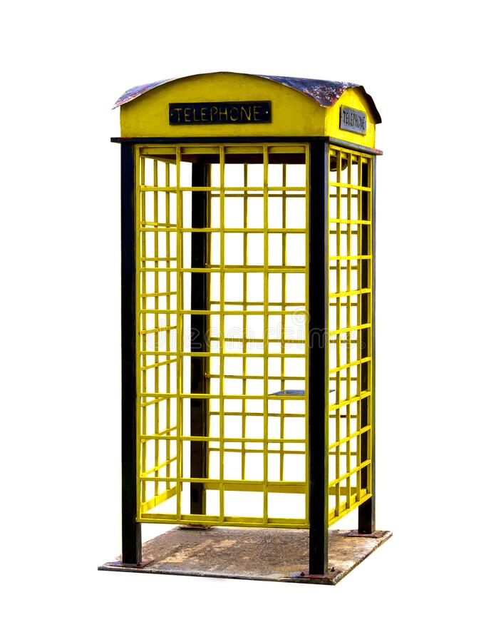 Old yellow Public telephone booth design is imitative of those of the recent past with clipping path stock images