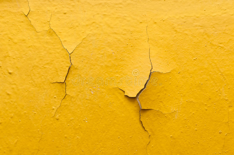 Old Yellow Wall With Cracked Paint Stock Photo - Image of damaged ...