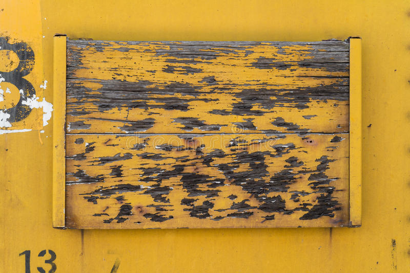 Old yellow wood and metal background texture stock images