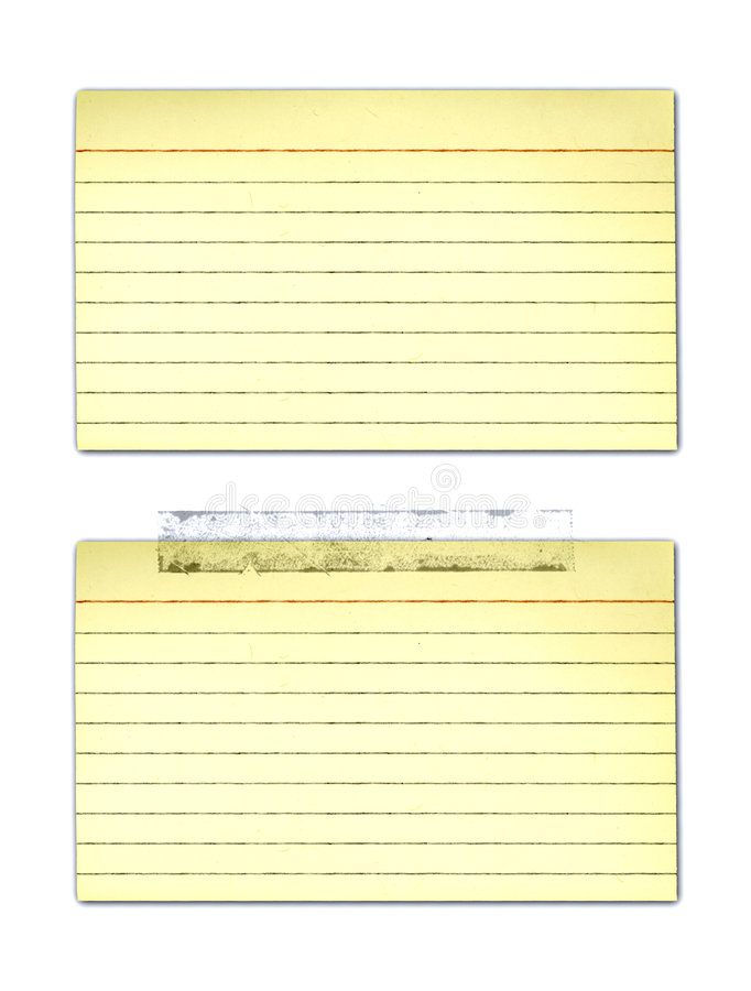 Old Yellowed Index Cards. Old, yellowed Index cards - with and without tape stock illustration