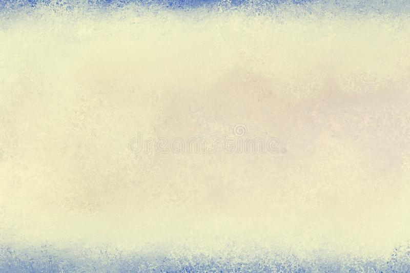 Old yellowed paper background with blue border in vintage texture layout royalty free stock image