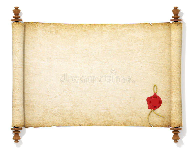 The old and yellowed scroll. Paper with wax seal royalty free stock photography