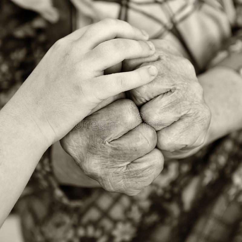 Download Old and young hands stock image. Image of endearment - 25062695
