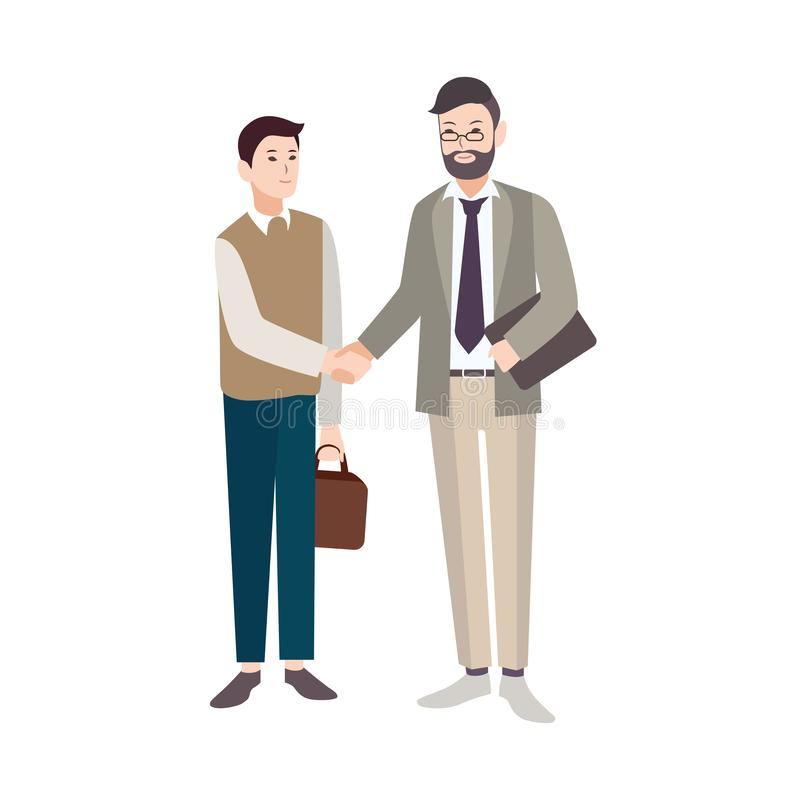 Old and young men, office workers or boss and employee shaking hands isolated on white background. Business deal. Agreement, partnership or cooperation. Vector royalty free illustration
