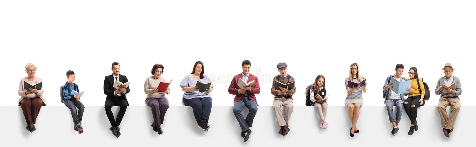 Old and young people sitting on a banner reading books. Isolated on white background royalty free stock photography