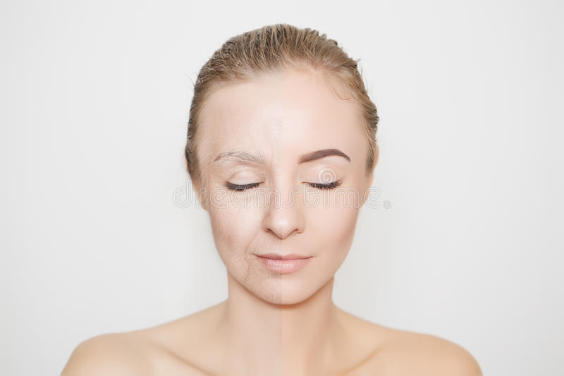 Old and young woman with closed eyes stock photos